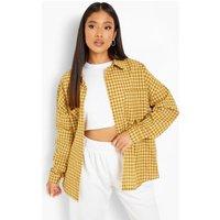 Womens Petite Oversized Check Shirt - Yellow - 14, Yellow