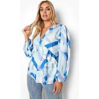 Womens Plus Geo Volume Sleeve Smock Top - Blue - 16, Blue