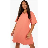 Womens Plus V Neck Swing Dress - Orange - 28, Orange
