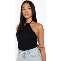 Womens Petite Halter Strap Vest Top - Black - 4, Black