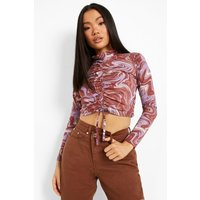 Womens Petite Swirl Print Ruched Front Top - Multi - 4, Multi