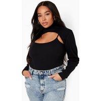 Womens Plus Premium Rib Arm Warmer Bodysuit - Black - 24, Black