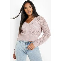 Womens Plus Knitted Pointelle Cropped Cardigan - Pink - 22, Pink
