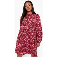 Womens Plus Woven Frill Smock Dress - Red - 20, Red