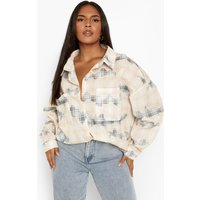 Plus Bleached Check Oversized Shirt
