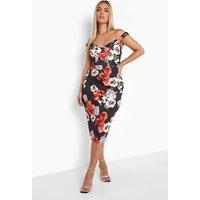 Womens Plus Floral Print Off Shoulder Midi Dress - Black - 16, Black