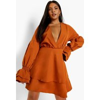Womens Plus Woven Wrap Layer Skater Dress - Orange - 28, Orange