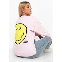 Womens Plus Smiley Glitch License Sweat - Pink - 22, Pink