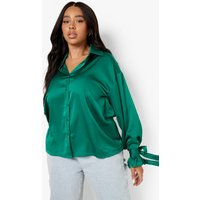 Womens Plus Satin Tie Cuff Shirt - Green - 16, Green
