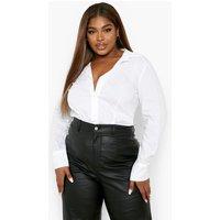 Womens Plus Tailored Shirt Bodysuit - White - 24, White