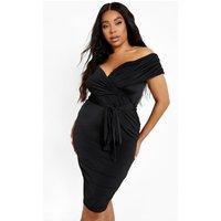 Womens Plus Slinky Off Shoulder Belted Midi Dress - Black - 18, Black