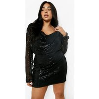Womens Plus Sequin Cowl Neck Mini Dress - Black - 24, Black