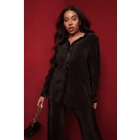 Womens Megan Fox Plus Satin Plisse Oversized Shirt - Black - 16, Black
