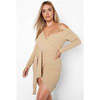 Womens Plus One Shoulder Strap Blazer Tie Belt Dress - Beige - 28, Beige