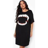 Womens Plus Halloween Vampire T-Shirt Dress - Black - 26, Black