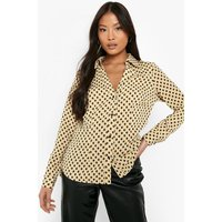 Womens Petite 70'S Geo Print Long Sleeve Shirt - Beige - 12, Beige