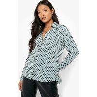 Womens Petite 70'S Geo Print Long Sleeve Shirt - Green - 4, Green