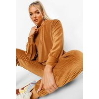 Womens Petite Rib Velour Oversized Sweatshirt - Brown - 8, Brown