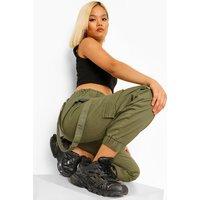 Womens Petite Utility Pocket Denim Joggers - Green - 4, Green