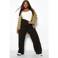 Womens Plus Cotton Basic Wide Leg Trousers - Black - 18, Black