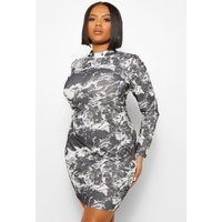 Womens Plus Marble Print High Neck Mini Dress - Black - 16, Black
