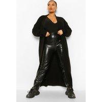 Womens Plus Knitted Ribbed Maxi Cardigan - Black - 16, Black