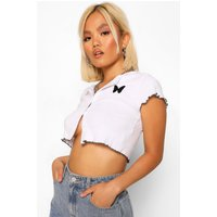 Womens Petite Rib Butterfly Embroidered Button Detail Top - White - 6, White