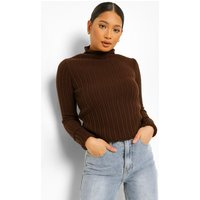 Womens Petite Knitted Lettuce Hem High Neck Top - Brown - 6, Brown