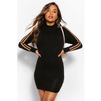 Womens Petite Sport Stripe Knitted Dress - Black - S, Black