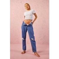 Womens Petite High Rise Distressed Boyfriend Jeans - Blue - 10, Blue