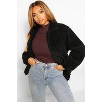 Womens Plus Pocket Detail Teddy Bomber Jacket - Black - 24,
