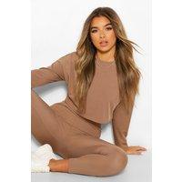 Womens Petite Long Sleeve Crop Top And Leggings Lounge Set - Beige - 4, Beige