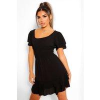 Womens Petite Smocked Angel Sleeve Skater Dress - Black - 8, Black