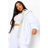 Womens Plus Basic Oversized Zip Through Hoodie - White - 16, White