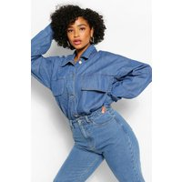 Womens Plus Pocket Fray Hem Denim Shirt - Blue - 20, Blue