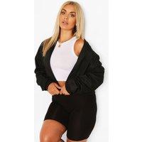 Womens Plus Woven Zip Detail Bomber Jacket - Black - 20, Black