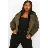 Womens Plus Hooded Padded Jacket - Green - 24, Green