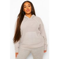 Womens Plus Knitted Oversized Hoodie - Grey - 20, Grey