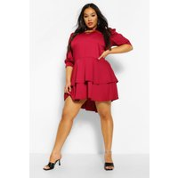 Womens Plus Oversized Ruffle Smock Dress - Red - 24, Red