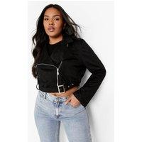 Womens Plus Belted Suedette Crop Biker Jacket - Black - 22, Black