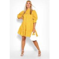 Womens Plus Printed Puff Sleeve Ruffle Neck Smock Dress - Yellow - 20, Yellow