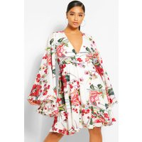 Womens Plus Paisley Floral Wide Sleeve Skater Dress - White - 18, White