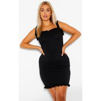 Womens Plus Strappy Tie Shoulder Frill Sundress - Black - 16, Black