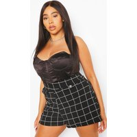 Womens Plus Grid Check Button Tailored Short - Black - 28, Black