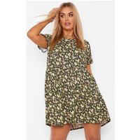 Womens Plus Ditsy Floral Tiered Ruffle Smock Dress - Black - 28, Black
