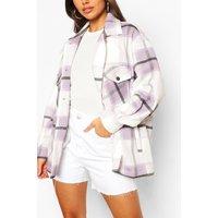 Womens Petite Check Shacket - Purple - L, Purple