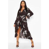 Plus Abstract Florl Wrap Midi Dress - Black - 16, Black