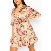 Plus Floral Ruffle Wrap Satin Skater Dress - Pink - 16, Pink