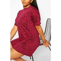 Womens Plus Pink Leopard Oversized T-Shirt Dress - 28, Pink