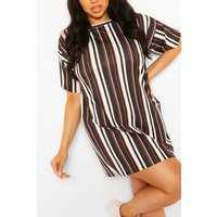 Womens Plus Stripe Oversized T-Shirt Dress - Black - 24, Black